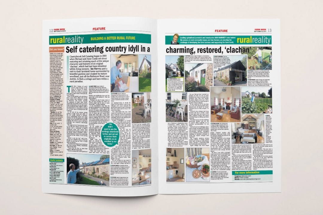 Farm Week article on Cherrybrook Self Catering Antrim